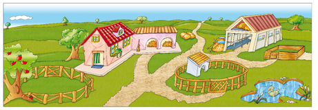 Stara rolna scena z domem wiejskim, stajnia, krajobraz royalty ilustracja