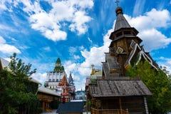Stara Rosyjska architektura, ortodoksyjny drewniany kościół w Moskwa zdjęcie stock