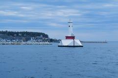 Stara Round wyspa punktu latarnia morska w Mackinac wyspie Zdjęcia Royalty Free