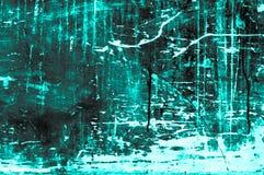 Stara scratchy drewniana deska z kolorami i kredy głownie turkusem Zdjęcie Stock