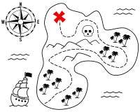 Stara Skarbu Wyspy Mapa Obrazy Royalty Free