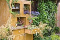 Stara spiżarnia z kwiatu dorośnięciem wśrodku go Fotografia Royalty Free