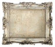 Stara srebro rama z pustą grunge kanwą Zdjęcie Royalty Free