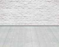 Stara starzejąca się biała cegły ściana z drewnianym podłogowym tłem Zdjęcia Stock