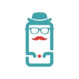 Stara szkoła mężczyzna ikony wektorowa ilustracja na smartphone ekranie Fotografia Royalty Free