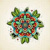 Stara szkoła tatuażu kwiat Zdjęcie Stock