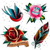 Stara szkoła tatuażu set ilustracji