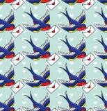 Stara szkoła wzór z ptakami Zdjęcia Royalty Free