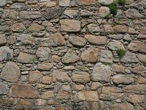 Stara, szorstka, nierówna kamienna ściana z trawy dorośnięciem w pęknięciach, zdjęcie stock