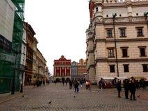 Stara Targowego kwadrata architektura z kolorowymi budynkami Obrazy Stock
