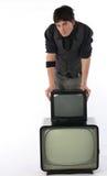 stara technologia nowy telewizor Zdjęcie Royalty Free