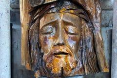 Stara twarz Jezus zrobił drewno Zdjęcia Stock