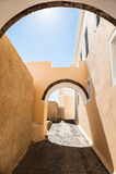 Stara ulica na wyspie Santorini, Grecja Obraz Royalty Free