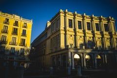 Stara ulica w kapitale Hiszpania miasto Madryt, swój a Zdjęcie Stock