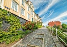 Stara ulica w Karlshamn w lato scenerii Fotografia Stock