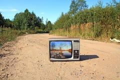 stara ustalona telewizja Zdjęcie Royalty Free