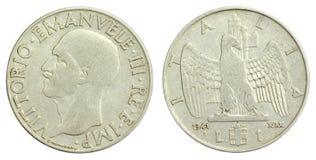 Stara Włoszczyzna 1941 Lir Jeden Moneta Obraz Stock