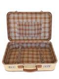 Stara walizka inside - odosobniona - Zdjęcia Stock
