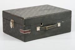 Stara walizka z gramofonem inside na białym tle Obraz Stock