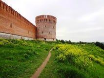 Stara warowna ściana na wzgórzu Fotografia Royalty Free