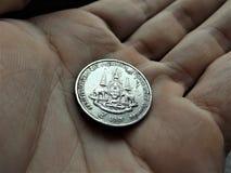 Stara wersja 5 skąpania Tajlandzka moneta Zdjęcia Stock