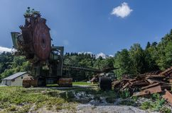 stara wiadra koła ekskawatoru panorama zdjęcie royalty free