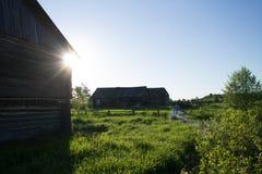 Stara wioska z drewnianymi domami Fotografia Stock