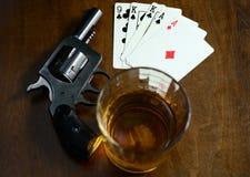 Stara zachodnia partia pokeru Obrazy Royalty Free