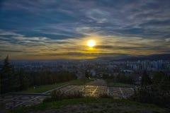 Stara Zagora in Bulgaria. Beautiful orange sky stock photos