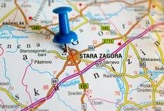 Stara Zagora on map. Close up shot of Stara Zagora on map with blue push pin royalty free stock image