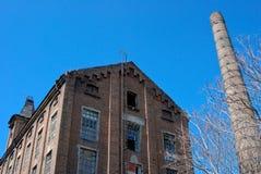 Stara zaniechana fabryka, komin i drzewo, Zdjęcia Stock