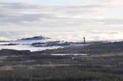 Stara zaniechana kopalnia w zimie Fotografia Royalty Free
