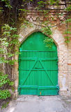 Stara zielona drewniana brama Zdjęcie Royalty Free
