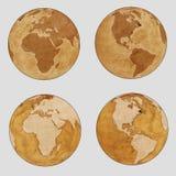 Stara Ziemska Światowa mapa - równina set Zdjęcie Royalty Free