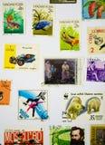 Stara znaczek kolekcja na Białym papierze Zdjęcie Stock