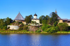 Staraya Ladoga fortress in Russia. Staraya Ladoga fortress. Church of St. George and marquees turrets. Russia Royalty Free Stock Image