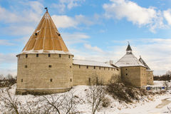 Staraya Ladoga fortress with three towers. The old churches and monasteries along the ancient route from the Vikings to the Greeks Stock Photography
