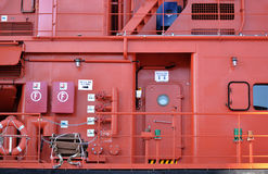 Starboard deck in a Rescue Ship. Starboard deck in a big Rescue Ship sailing on the Mediterranean Royalty Free Stock Image