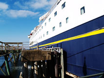 Starboard Side of Large Ferry Tied to Pier Stock Photography