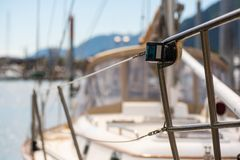 Starboard signal light. On a small fishing boat Stock Images