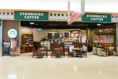 Starbucks cafe  in airport Royalty Free Stock Photos