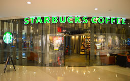 Starbucks Cafe entrance Royalty Free Stock Photo