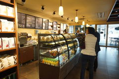 Starbucks Cafe interior in Helsinki Airport Stock Images