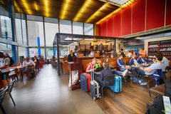 Starbucks cafe in Orly Airport. PARIS - SEPTEMBER 04: Starbucks cafe interior in Orly Airport on September 04, 2014 in Paris, France. Paris Orly Airport is an Royalty Free Stock Photography