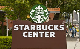 Starbucks Center Entry Sign Royalty Free Stock Image