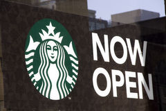 Starbucks Coffee opening sign Royalty Free Stock Images