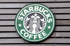 Starbucks Coffee sign Stock Images