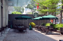Starbucks Coffee terrace Royalty Free Stock Images