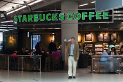 Starbucks Coffee terrace in Schiphol Airport Royalty Free Stock Image