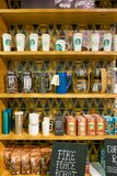 Starbucks. DUSSELDORF, GERMANY - CIRCA OCTOBER, 2018: goods on display at a Starbucks coffee shop in Dusseldorf royalty free stock images